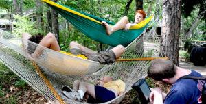 photo of boys in hammocks